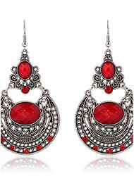 New Arrival Ethnic Style Long Dangle Earrings Vintage Red Rhinestone Hollow Carved Bohemian Earrings Women Jewelry