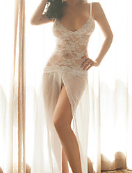 Women Lace Lingerie Nightwear,Sexy Lace Jacquard-Thin Lace White