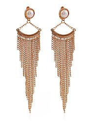Borlas Moda Vintage Europeu Pérola Prata Chapeada Chapeado Dourado Liga Forma Redonda Forma Geométrica Dourado Preto Prata Jóias Para
