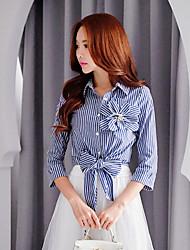 das dabuwawa mulheres trabalho / partido / cocktail / feriado do vintage / street chique / sofisticado camisa, camisa listrada / patchwork colar