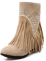 cheap -Women's Shoes Fashion Boots / Round Toe Boots Party & Evening / Dress / Casual Wedge Heel Beading / Tassel