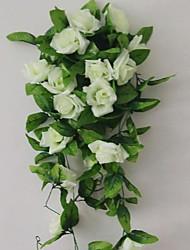 abordables -1 Une succursale Polyester Plastique Roses Guirlande et Fleur Murale Fleurs artificielles