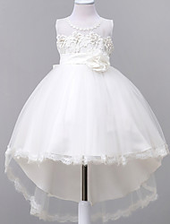 robe de bal tribunal train robe de fille fleur - organza en organza sans manches cravate cravate avec applique par jnm