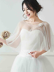Sleeveless Tulle Wedding Party Evening Women's Wrap With Flower(s) Shawls