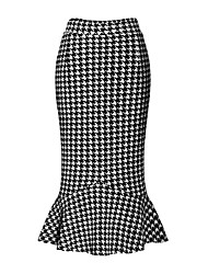 cheap -Women's Street chic Bodycon Skirts - Houndstooth, Ruffle
