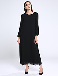 cheap -Women's Beach Loose Dress,Solid Round Neck Maxi Long Sleeve Blue / Red / Black / Yellow Fall Inelastic Medium