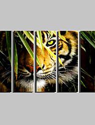billige -Strukket Lærred Print Dyr Fem Paneler Vertikal Print Vægdekor Hjem Dekoration