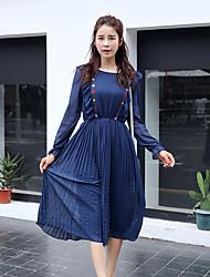 Gravidez Solto Vestido,Casual Simples Sólido Decote Redondo Médio Manga Longa Azul / Branco Poliéster Outono