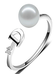 cheap -Freshwater pearl S925 silver 7-8mm oblate Qiangguang D ring Elegant Style