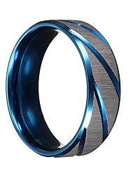 cheap -Men Rings Blue Silver Brushed Section Titanium Steel Finger Ring Men Jewelry bague homme Christmas Gifts