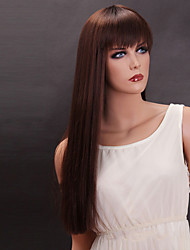 Brown Color Long Straight Wig Capless Synthetic Wigs For Women