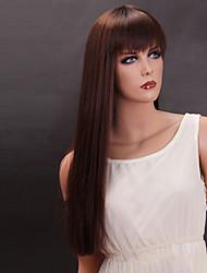 Donna Parrucche sintetiche A macchina Lisci Marrone parrucca nera costumi parrucche