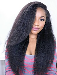 cheap -Virgin Human Hair Full Lace Lace Front Wig Brazilian Hair kinky Straight 130% 150% Density With Baby Hair Glueless African American Wig