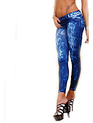 Women Solid Color Denim Legging,Cotton