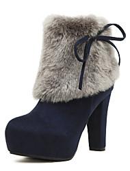 cheap -Women's Shoes Fleece Fur Fall Winter Bootie Fashion Boots Boots Chunky Heel Platform Bowknot for Outdoor Dress Black Blue