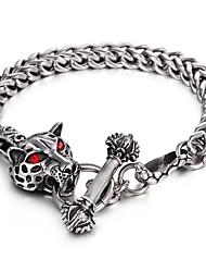 316L Stainless Steel Link Chain Red Evil Eyes Animal Leopard Bracelet 2016 Personalised Gothic Men's Accessory Gift