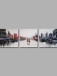 cheap -City View Art 3 Pieces Grey Tone Home Decor Artwork Hnadmade Paintings R2H