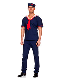 cheap -Sailor Cosplay Costume Party Costume Male Halloween Carnival Festival / Holiday Halloween Costumes Dark Blue Solid