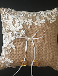 cheap -Faux Pearl Embroidery Ribbons Linen Ring Pillow Beach Theme Garden Theme Vegas Theme Asian Theme Butterfly Theme Winter Spring Summer Fall