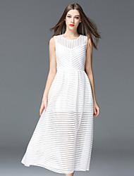 abordables -Gaine Robe Femme Sortie Sophistiqué,Rayé Col Arrondi Midi Sans Manches Blanc / Noir Polyester Printemps / Eté Taille Normale Non Elastique
