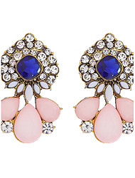 cheap -Fashion Elegant Crystal Flower Stud Earrings Pink Color Charm Water Drop Earrings For Women Party Wedding Jewelry