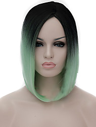cheap -Synthetic Wig Straight / kinky Straight Bob Haircut Synthetic Hair Middle Part Bob / Natural Hairline Blue Wig Women's Mid Length Capless Light Blue