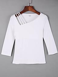 baratos -Mulheres Camiseta Vazado, Sólido Algodão Decote Quadrado