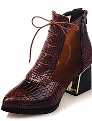 レディース 靴 レザーレット 春 秋 冬 ブーティー ファッションブーツ ブーツ チャンキーヒール プラットフォーム 編み上げ 用途 カジュアル ドレスシューズ Brown レッド ブルー