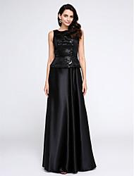 preiswerte -A-Linie U-Ausschnitt Boden-Länge Stretch - Satin Formeller Abend Kleid mit Paillette durch TS Couture®