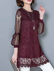 cheap -Women's Lace  Spring   Retro Fashion Slim Lace Shirt