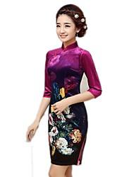 cheap -Traditional Women's Dress A-Line Dress Pencil Dress Cosplay Red Green Ink Blue Floral Medium Length