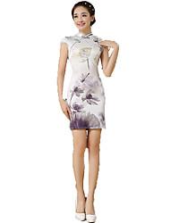 cheap -One-Piece Short Sleeve Medium Length Gray Lolita Dress Polyester Cheongsam