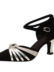 Damer Latin Moderne Velouriseret Sandaler Hæle Professionel Indendørs Spænde Personligt tilpassede hæle Sort Personligt tilpasset hæl Kan