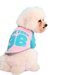 cheap -Cat Dog Sweatshirt Dog Clothes Color Block Letter & Number Yellow Red Blue Pink Polar Fleece Cotton Costume For Pets Men's Women's