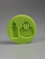 3D baby accessories bib bottle silicone cake mold decoration Baby birthday Color Random