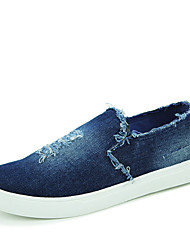 Unisex Shoes Canvas Fall Comfort Loafers & Slip-Ons Flat Heel For Casual Black Dark Blue Blue