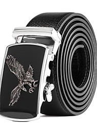 cheap -Men's Suits Dress Black Leather Wide Waist Belt Strap Black Silver Automatic Belt Buckle
