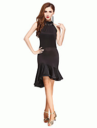 Shall We Latin Dance Dresses Women Performance Chinlon Backless Dance Costumes Black