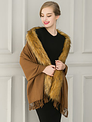 Sleeveless Faux Fur Party Evening Casual Women's Wrap With Tassels Shawls