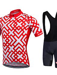 abordables -Fastcute Homme Femme Manches Courtes Maillot et Cuissard à Bretelles de Cyclisme - Noir Vélo Cuissard à bretelles Collant à