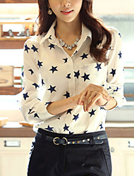 Women's Formal Simple All Seasons Shirt,Animal Print Shirt Collar Long Sleeve White Medium
