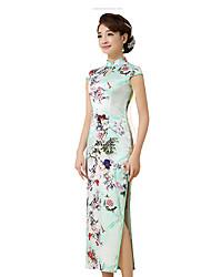 Classic & Traditional Lolita Skirt Short Sleeve Long Length Light Green Lolita Dress Silk