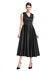 A-Line V-neck Tea Length Satin Formal Evening Dress with by TS Couture®