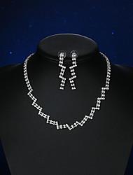 Mulheres Brincos Curtos Colar Cristal Gema Básico bijuterias Cristal Prata Chapeada Formato de Coração Nota Musical Para Casamento Festa