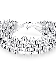 May Polly Fashion popular silver plated multi row light bead woven Bracelet