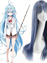 cheap -peruca cosplay lolita anime 70cm long straight hightlight light blue mixed grey color synthetic fiber wigs for female Halloween