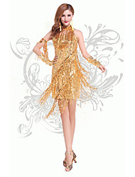 Shall We Latin Dance Dresses Women Performance Chinlon Sequins / Tassel(s) 2 Pieces Dance Costumes with Neckwear Gold