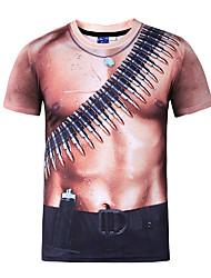 Herren T-shirt-Druck Freizeit / Formal / Sport / Übergröße Polyester Kurz-Schwarz