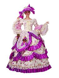 economico -Vittoriano Rococò Costume Per donna Vestito da Serata Elegante Stile Carnevale di Venezia Fucsia Vintage Cosplay Pizzo Cotone