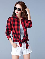 cheap -Women's Plus Size Cotton Shirt - Plaid Shirt Collar